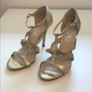KORS Michael Kors gold embossed sandal